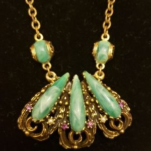 VINTAGE LIKE SELRO 💚GREEN STONE COSTUME JEWELRY